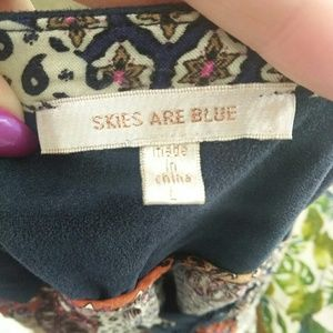Skies Are Blue Dresses - Skies Are Blue Patchwork Print Lace Up Dress
